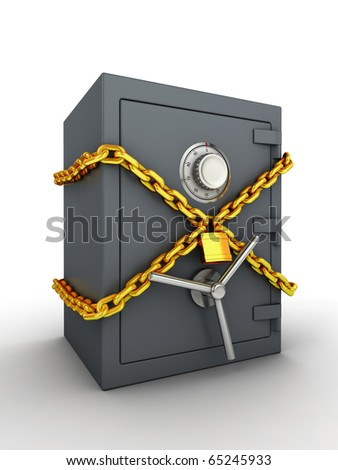 Bank safe with golden chain and padlock