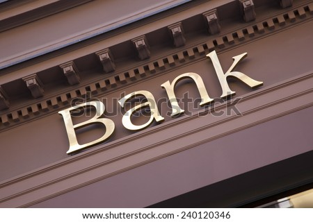 Bank Sign on Branch Facade - stock photo