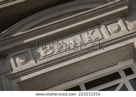 Bank Sign on Tilted Angle