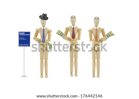 Bank Transactions Form line Here Adult Male Mannequins wearing Hat and Tie holding one hundred dollar bills isolated on white background