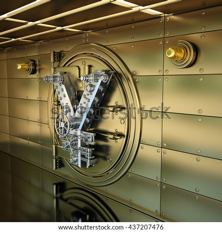 Bank Vault Door. Business concept. currency Japanese yen symbol and banking safe. High resolution 3D