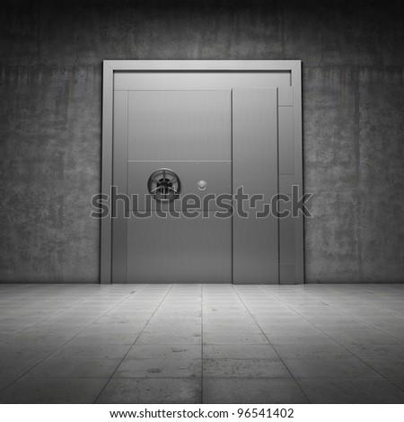 Bank vault with metal door - stock photo