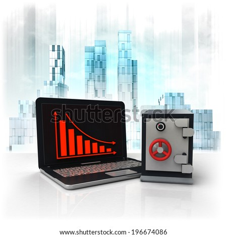 bank vault with negative online results in business district illustration