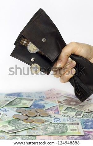 Bank wife and tax squeezed polish money out of wallet concept - stock photo