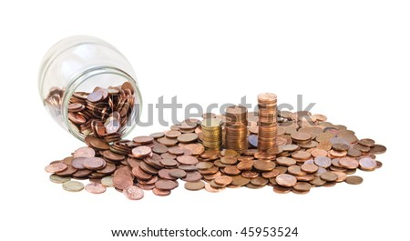 Bank with coins. European currency, background coins