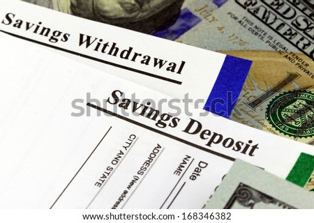 Bank withdrawal and deposit slip from savings account - stock photo