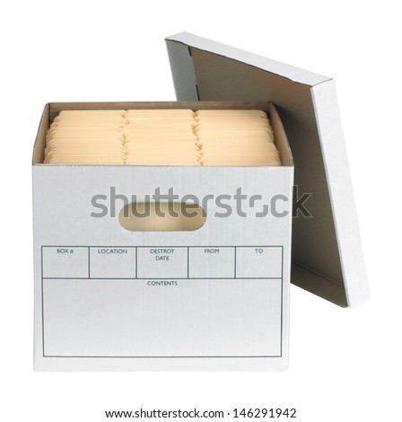 Bankers Box with files isolated  - stock photo