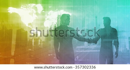 Banking and Finance Sector with Men Shaking Hands - stock photo