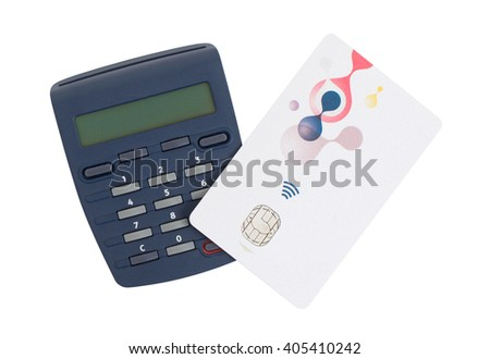 Banking at home, card reader for reading a bank card - stock photo