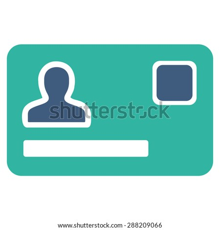 Banking Card icon from Business Bicolor Set. This flat raster symbol uses cobalt and cyan colors, rounded angles, and isolated on a white background. - stock photo