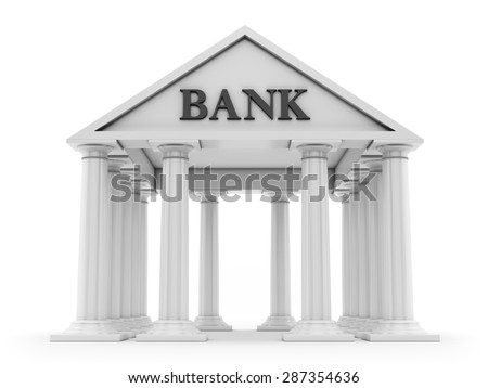 Banking concept, ancient bank building isolated on white background - stock photo
