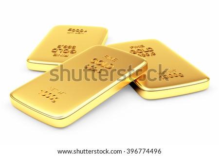 Banking concept. Flat golden bars isolated on white. 3d illustration. - stock photo