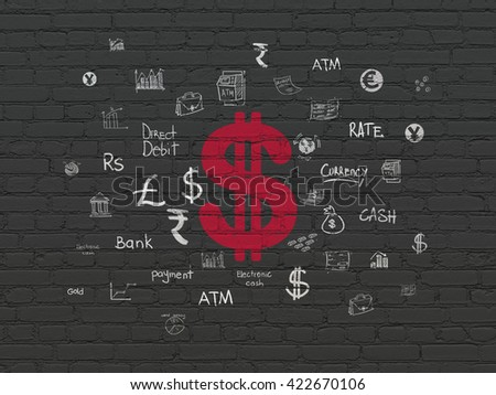 Banking concept: Painted red Dollar icon on Black Brick wall background with  Hand Drawn Finance Icons - stock photo