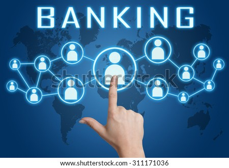 Banking concept with hand pressing social icons on blue world map background. - stock photo
