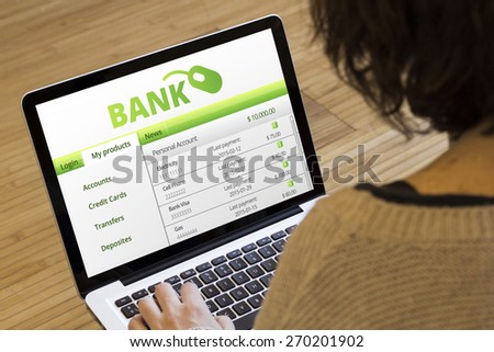 banking online concept: bank sofware on a laptop screen - stock photo