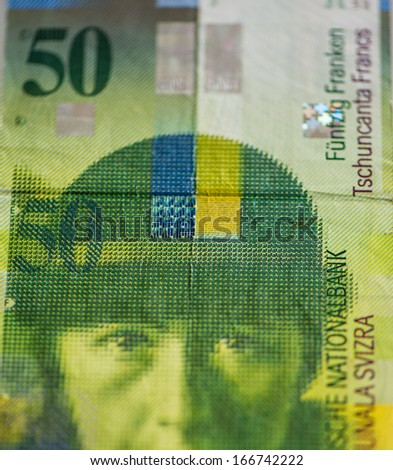 Banking unit of fifty-franc Swiss banknote closeup - stock photo