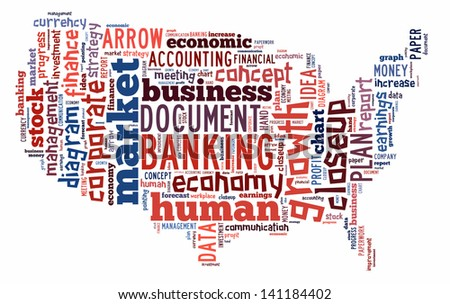 Banking word cloud in the shape of USA