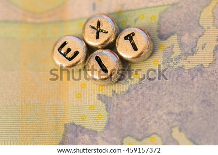 Banknote 20 euro, closeup. Europe map with the inscription EXIT on the UK - stock photo