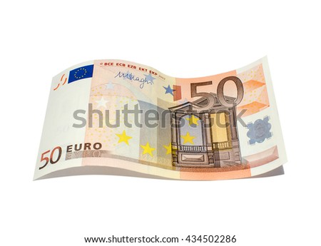 Banknote in fifty euro isolated on a white background - stock photo