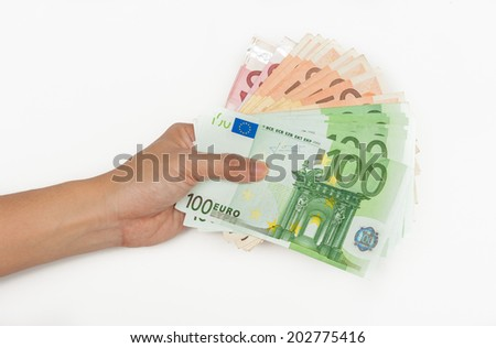 banknote ten,fifty and hundred on hand