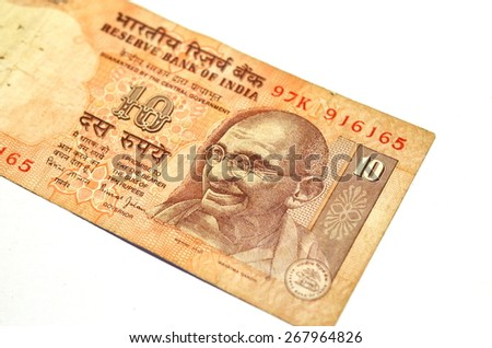 Banknote with the portrait of Gandhi - stock photo