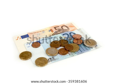 Banknotes and coins euro