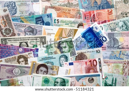 Banknotes from allover the world - stock photo