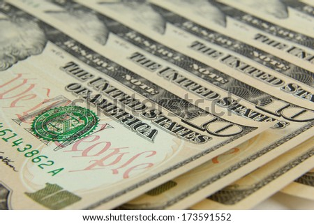banknotes in denominations of ten dollars closeup