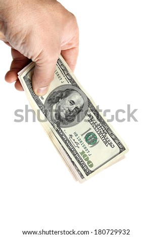Banknotes in hand isolated on white background. - stock photo