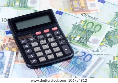 Banknotes of euro with chart a background - stock photo