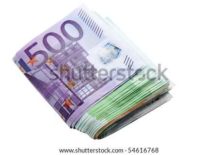 banknotes of euros isolated on a white background - stock photo