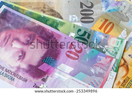 Banknotes of swiss currency as background - stock photo