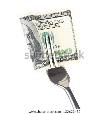 Banknotes on fork isolated on white