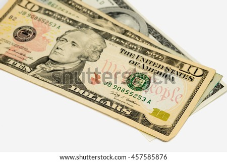 Banknotes on white background isolated for saving, funds, business concept .
