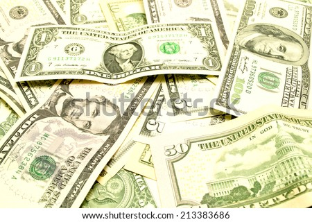banknotes one, five, ten, twenty, fifty and one hundrid dollar closeup