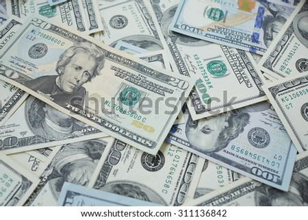 banknotes to twenty and one hundred USD