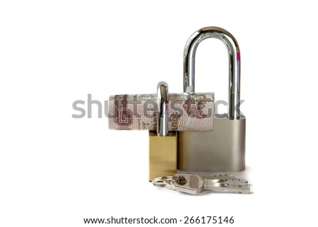 banknotes with padlock isolated on white background , Concept for security and inflation. - stock photo