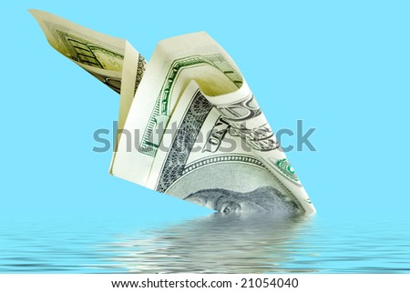 bankruptcy business. money plane crash - stock photo