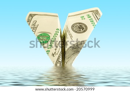 bankruptcy business. money plane wreck - stock photo