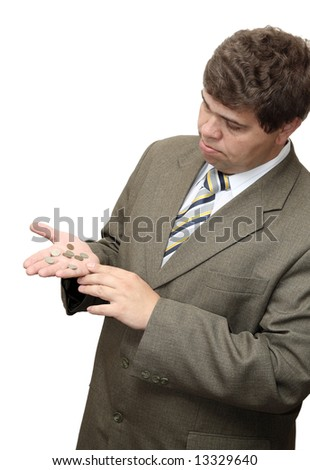 bankruptcy businessman, counting coins on his palm - stock photo