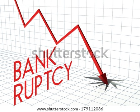 Bankruptcy chart concept, crisis and down arrow - stock photo