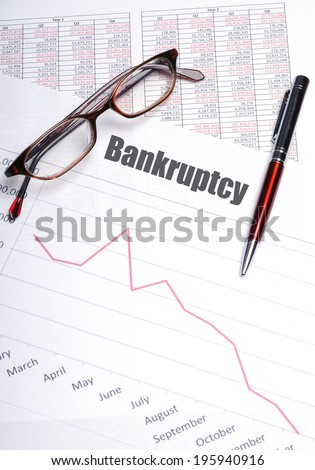 bankruptcy chart with sales decline - stock photo