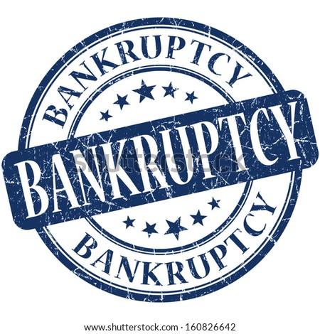 Bankruptcy grunge blue round stamp - stock photo