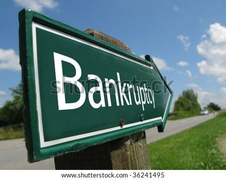 BANKRUPTCY road sign - stock photo
