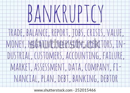 Bankruptcy word cloud written on a piece of paper - stock photo