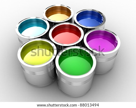 Banks with a paint of different colours are collected together