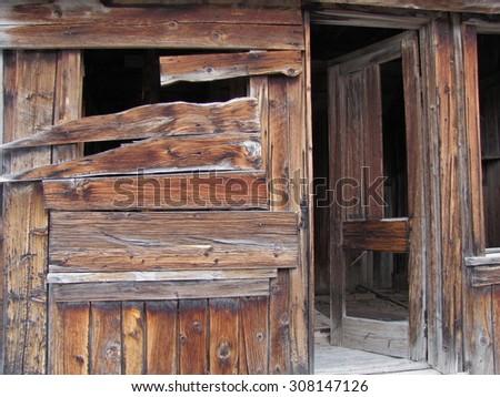 Bannack Ghost Town, old door and window - stock photo