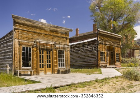 BANNACK, MONTANA, USA - AUGUST 2004: Ghost town, in old gold mining settlement, Bannack State Park. Wooden sidewalk.
