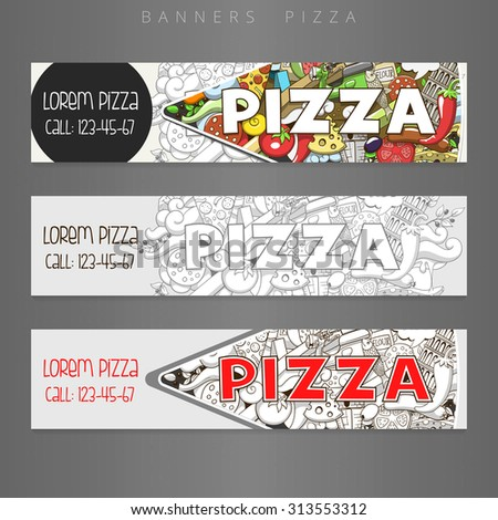 Banner advertisement pizza design raster version,
