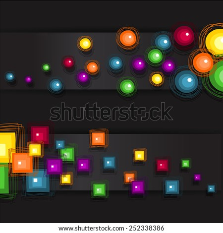 Banner circles and squares dark background - stock photo
